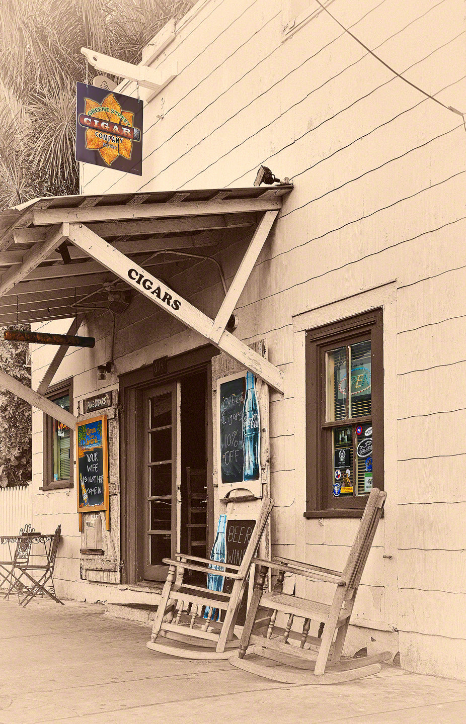 A Fine Art Photograph by Mike Ring of Green Street Cigar shop in Key West