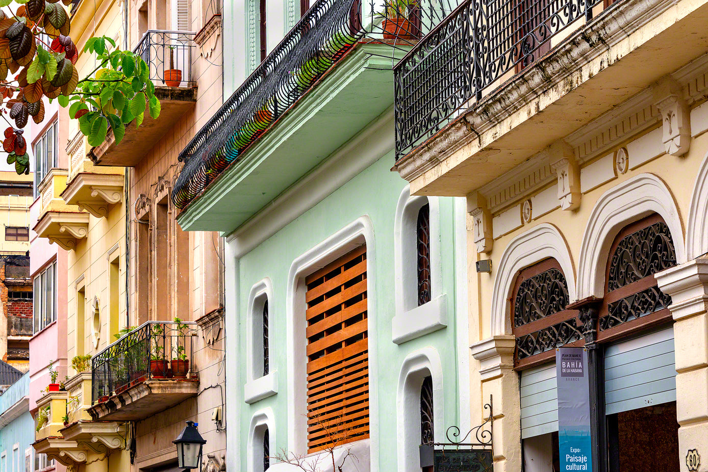 A photo of colorful buildings in Havana, Cuba