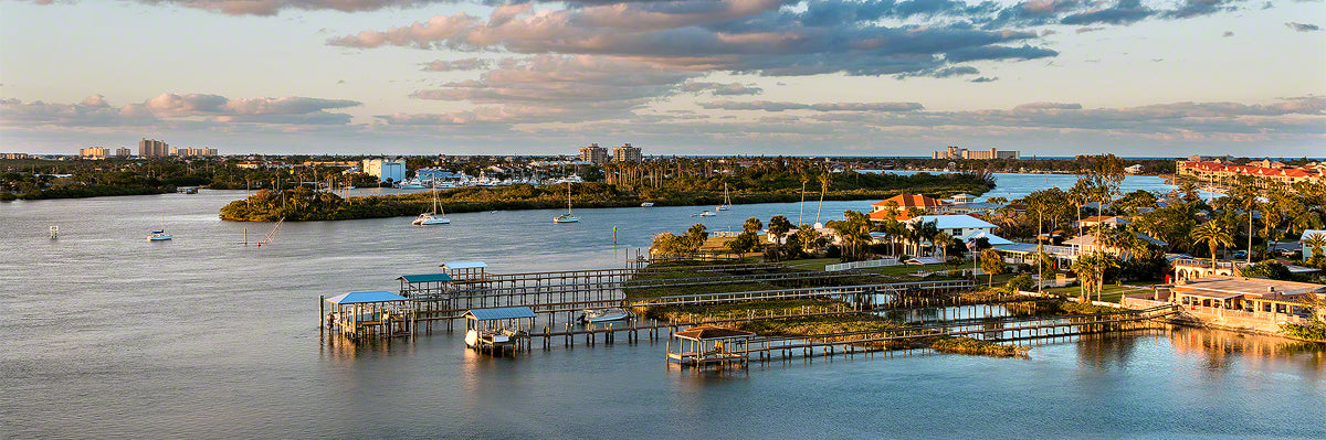 A panoramic view at sunset looking off the South Causeway bridge in New Smyrna Beach, Florida