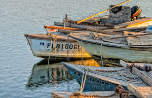 A photo of a group of oyster boats