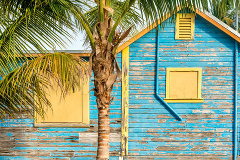 A photo of a colorful tropical home in Islamorada, Florida