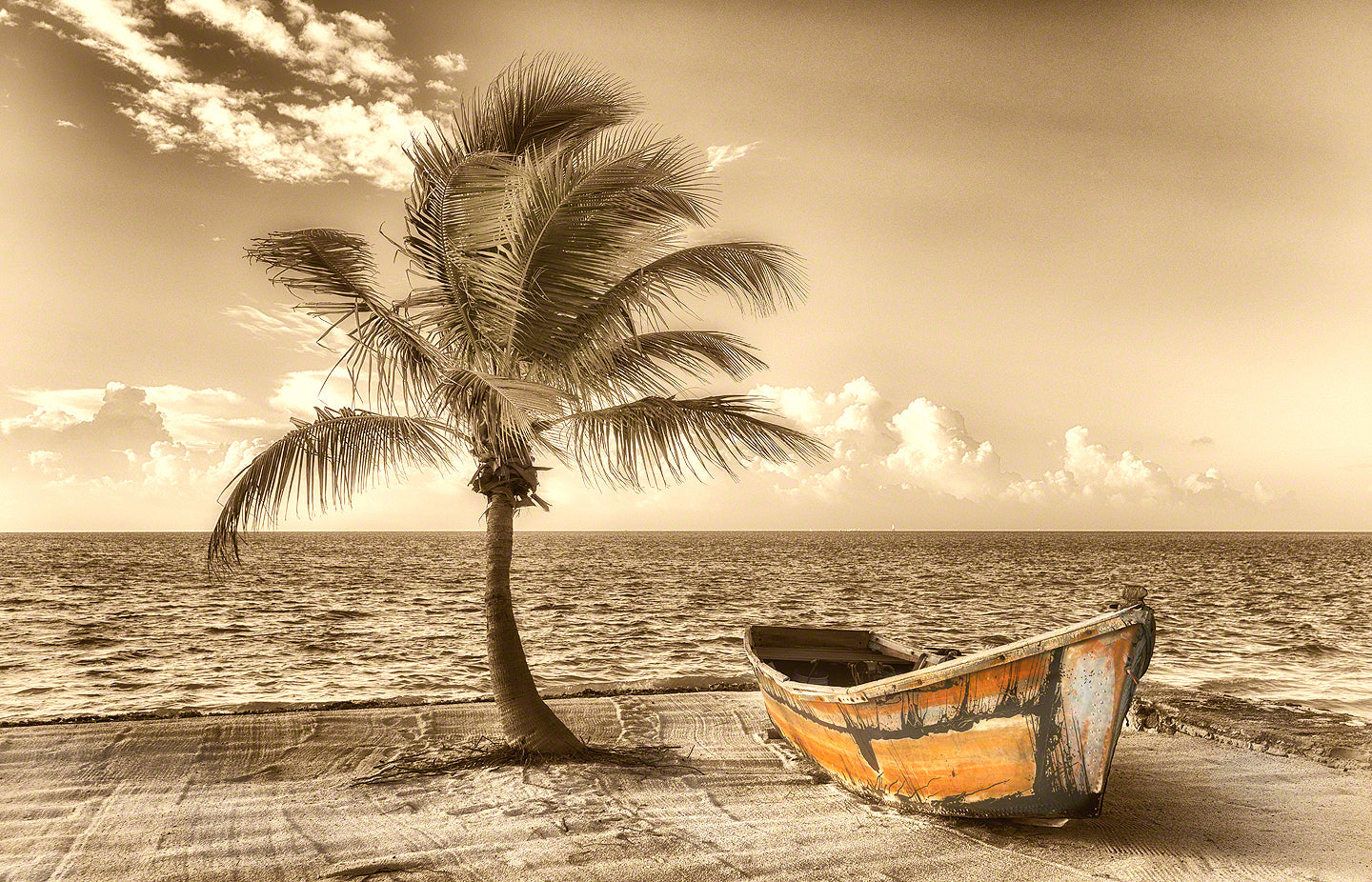 A photo of an old Cuban boat used to escape to America on the beach in Islamorada, Florida