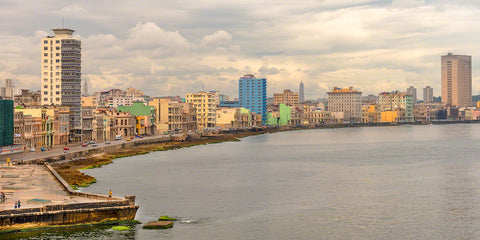 A photo of the Malecon road along the ocean in Havana, Cuba.