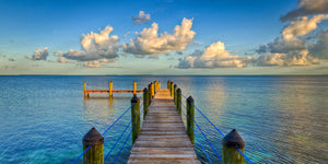 a photo of the dock at Marker 88 Restaurant, looking out on the tropical waters of the Gulf of Mexico
