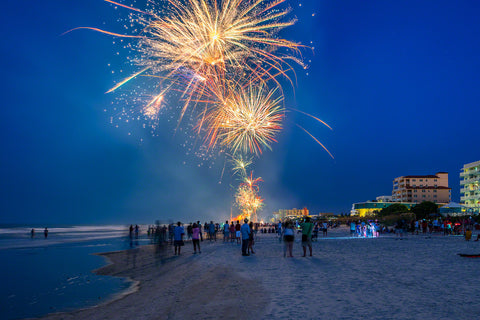A photo of fireworks on New Smyrna Beach