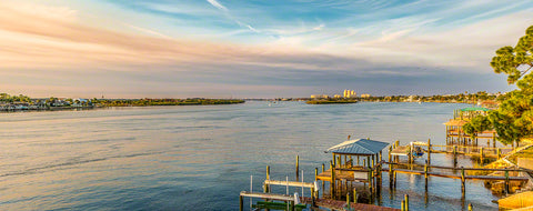 A panoramic view off the North Causeway bridge in New Smyrna Beach, Florida.