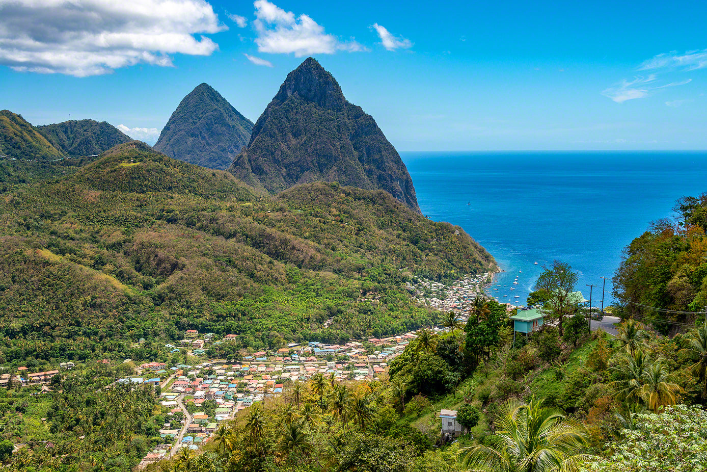 A photo of the beautiful Piton Mountains in St. Lucia