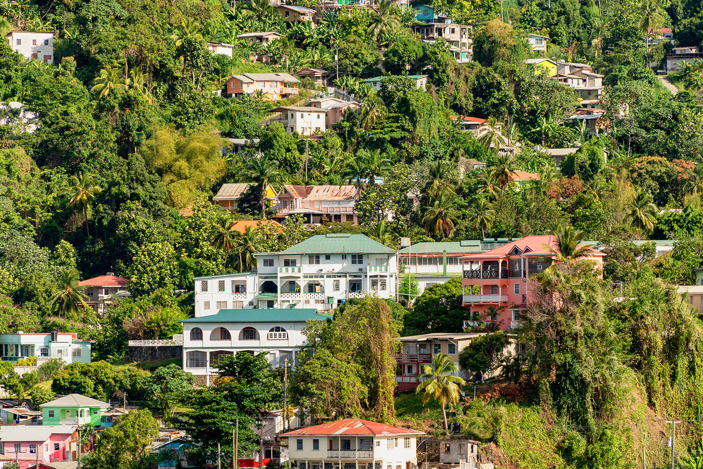 A photo of colorful houses in tropical St. Lucia