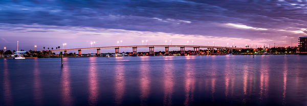 A twilight view of the South Causeway bridge in New Smyrna Beach, Florida