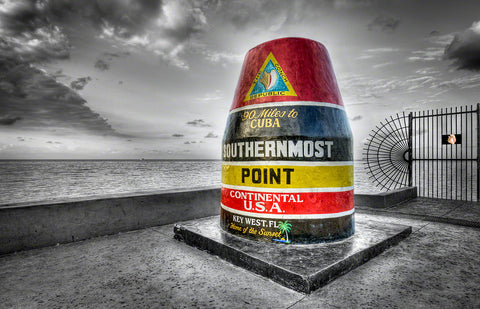 A photo of the southern most point landmark in Key West, Florida