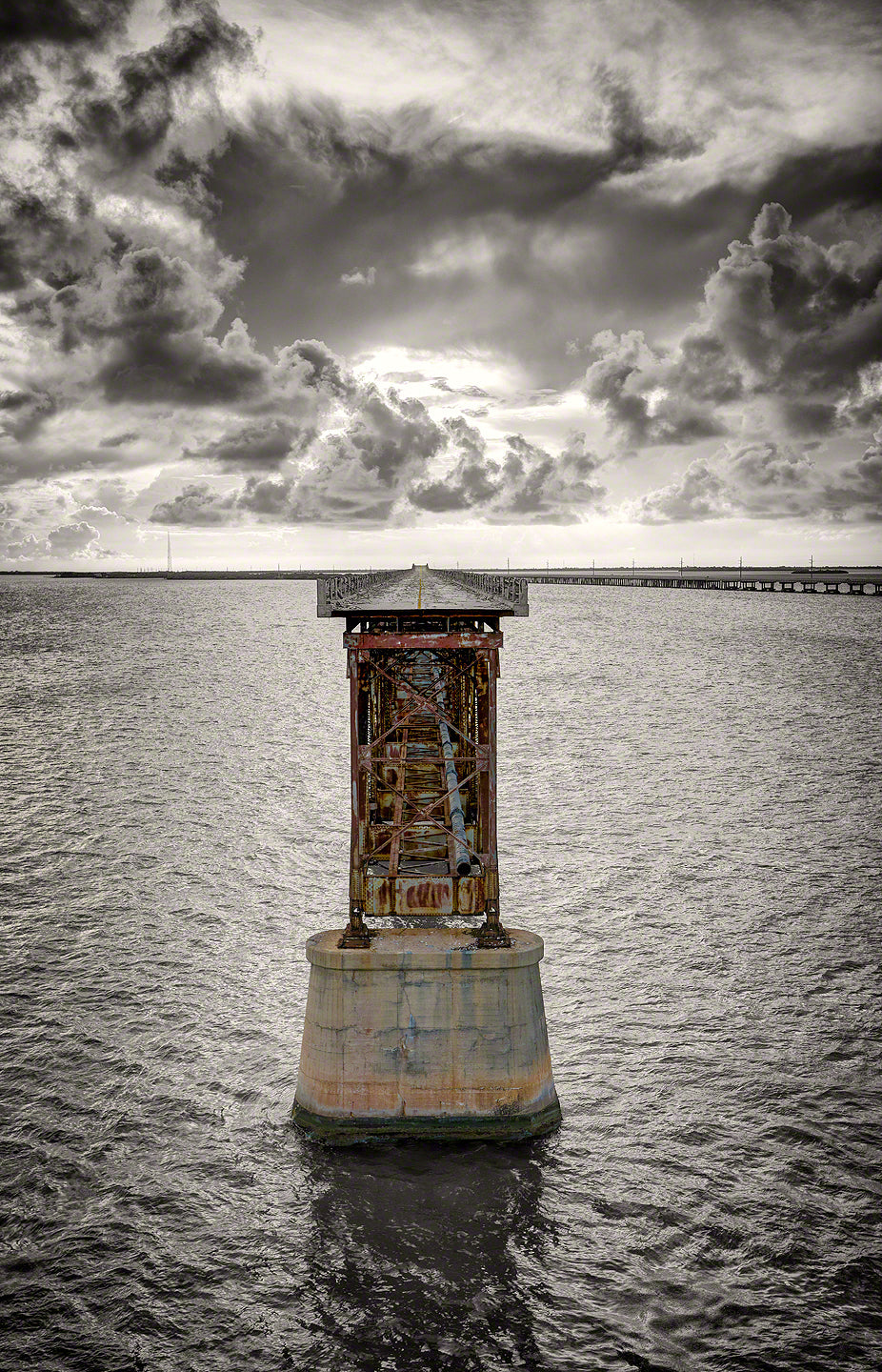 A photo of the old railroad bridge crossing Bahia Honda channel in the lower Florida Keys