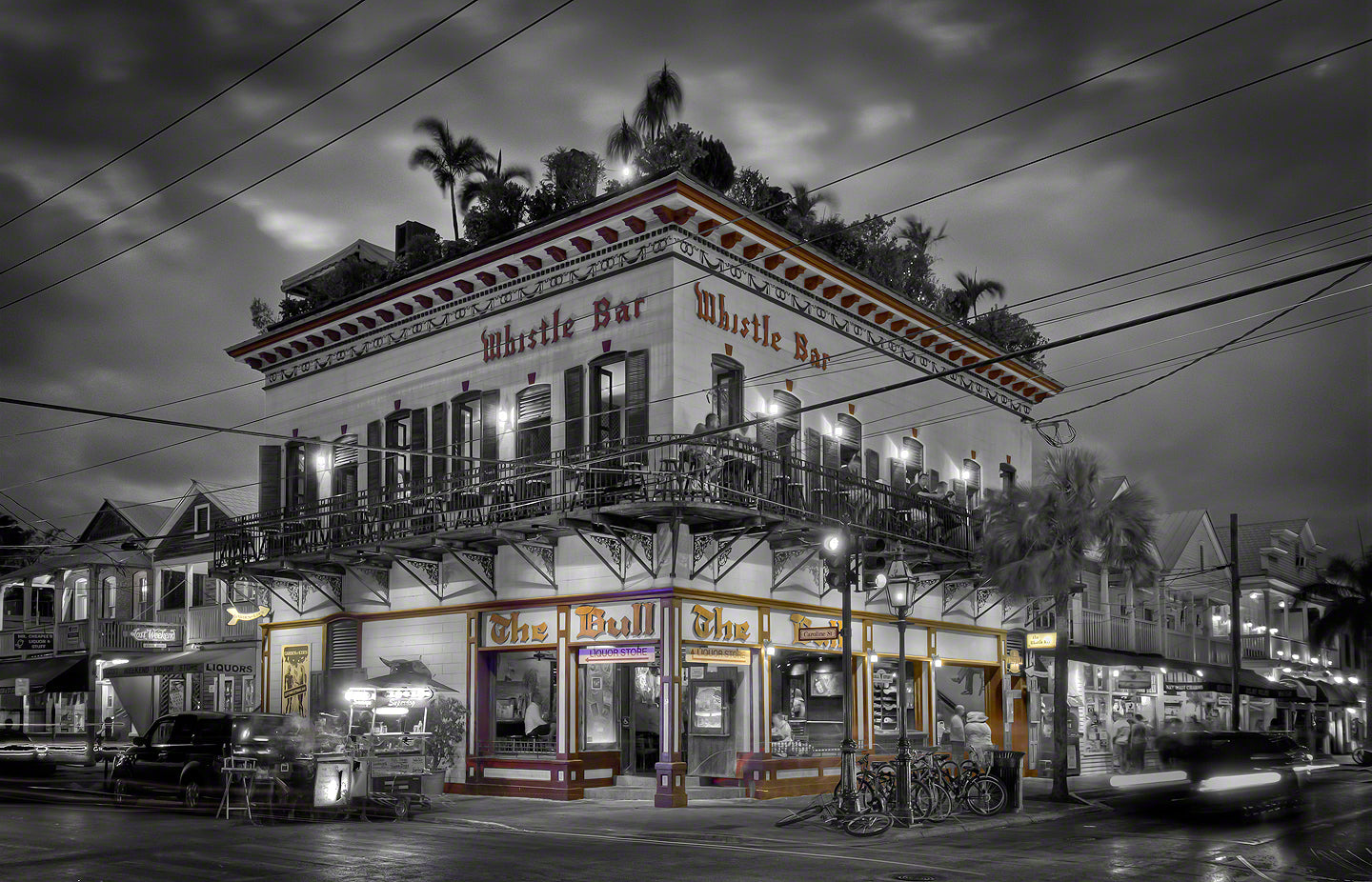 A photo of the Famous Whistle Bar at night in Key West, Florida