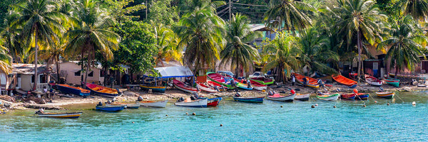 A panoramic photograph of numerous boats at a fishing village in the town of Castries, St. Lucia