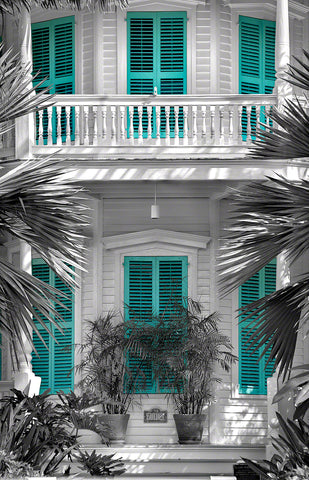 A photo of a colorful tropical home in Key West, Florida
