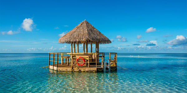 A photo of a floating bar on Coco Cay in the Bahamas