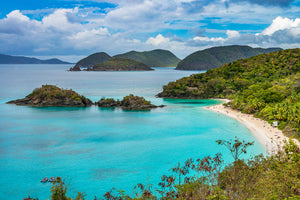 A cliff side photo of beautiful Trunk Bay on St. John Island