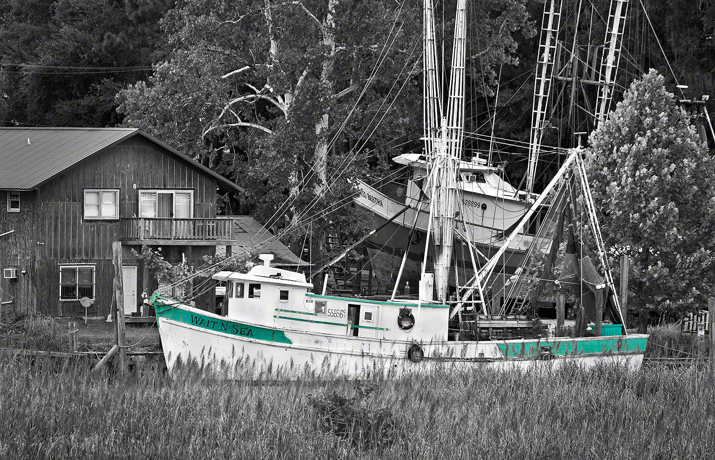 A Landscape Fine Art Photograph by Mike Ring of a shrimp Boat in Darien Georgia.