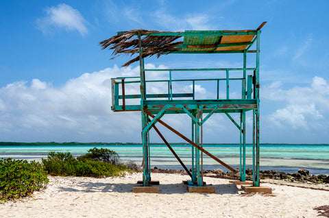 A photo of a windsurfing contest lookout hut on the beautiful island of Bonaire.