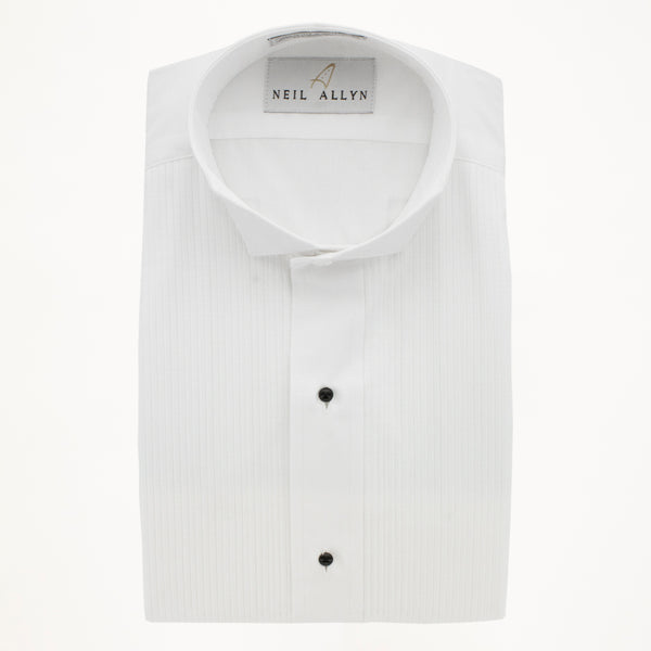 "Wing Tip Tux Shirt 1/8"" Pleat- White - Men's"