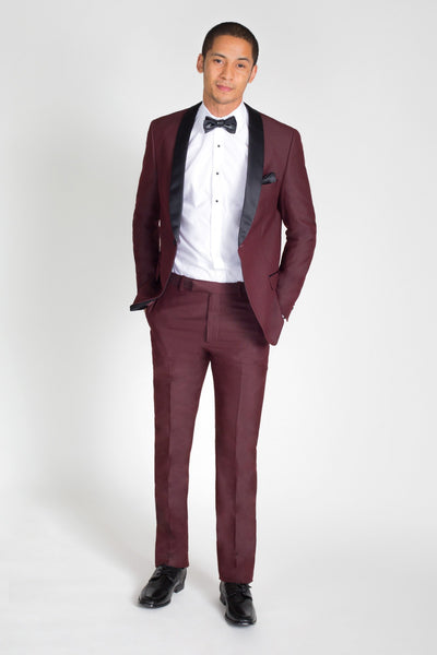 Burgundy Slim Fit Tuxedo with Black Shawl Lapel