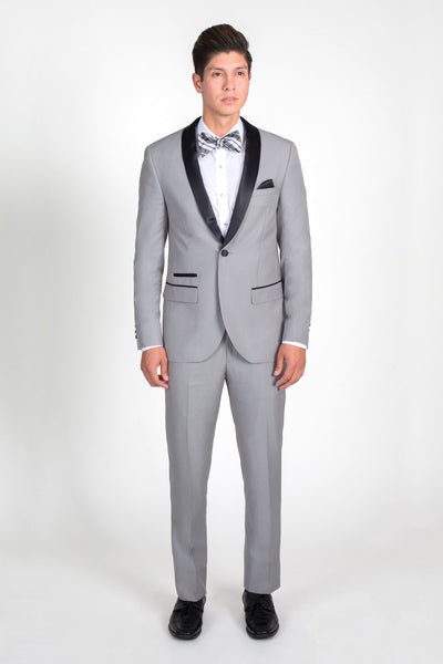 Light Grey Slim Fit Tuxedo with Black Shawl Lapel