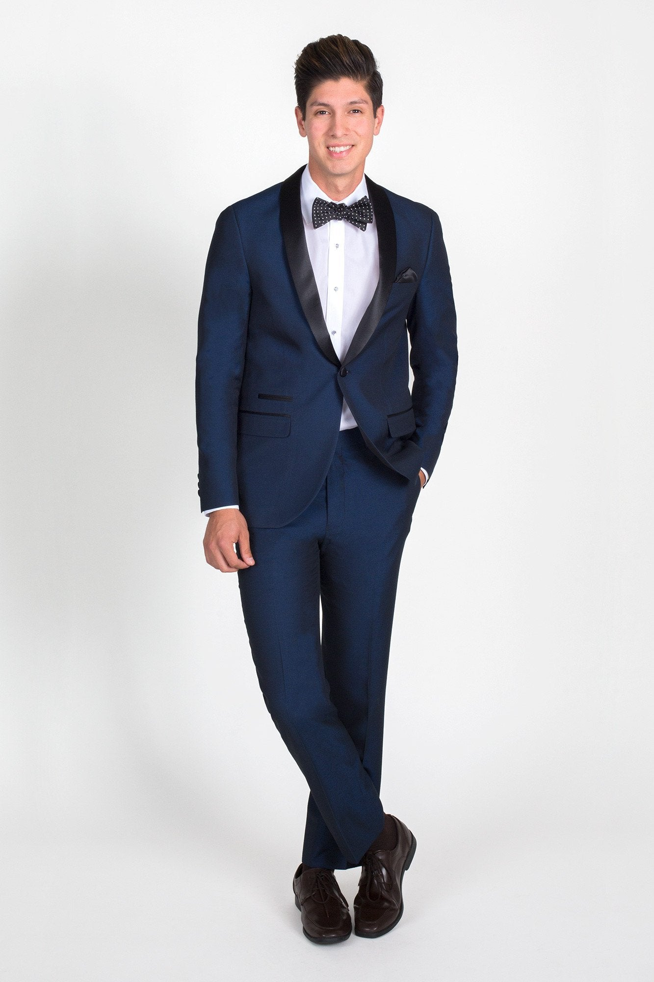 Navy Blue Slim Fit Tuxedo with Black Shawl Lapel