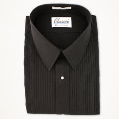 "Laydown Tux Shirt 1/4"" Pleat- Black"