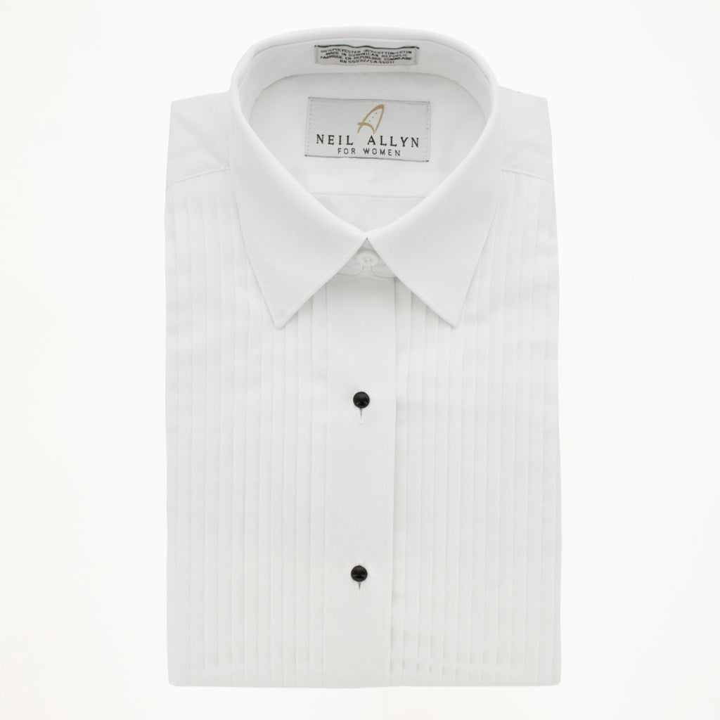 "LAYDOWN TUX SHIRT 1/4"" PLEATS - WHITE- WOMAN"