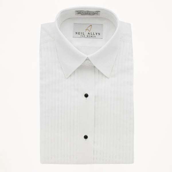 "LAYDOWN TUX SHIRT 1/4"" PLEATS - WHITE- WOMAN'S"