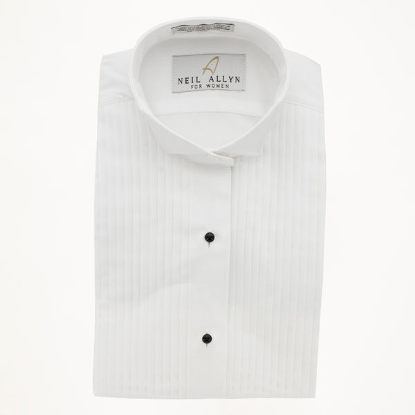 "Wing Tip Tux Shirt 1/4"" Pleat- White - Woman's"