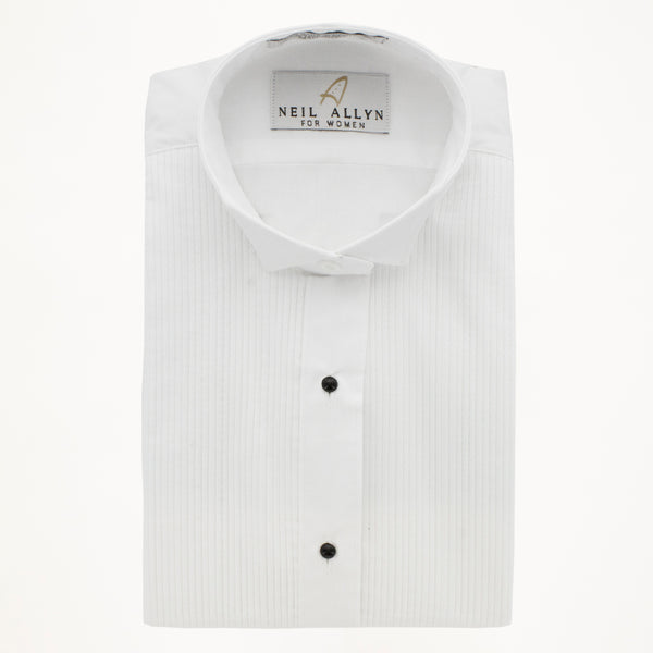 "Wing Tip Tux Shirt 1/8"" Pleat- White - Woman's"