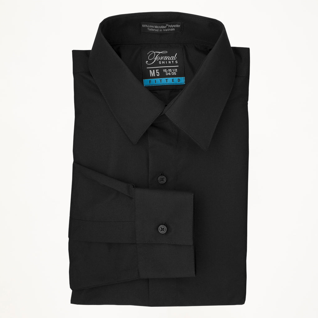 Laydown Microfiber Tux Shirt - Black - Men
