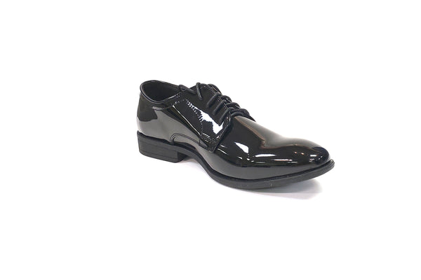 Black Patent Lace Uniform Tuxedo Shoe