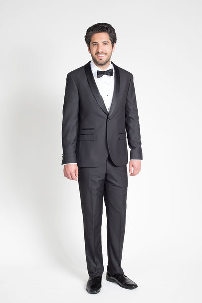 Black Slim Fit Tuxedo with Shawl Lapel