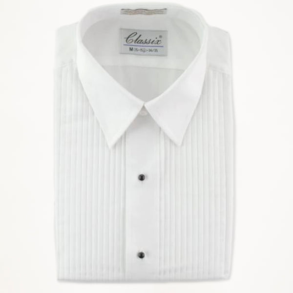 "Laydown Tux Shirt 1/4"" Pleat- White"