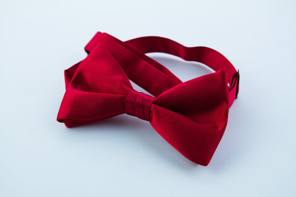 Red Silk Pre-tied Bow Tie