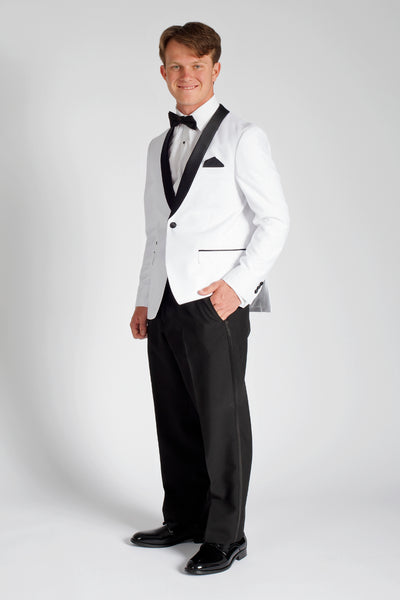 White Slim Fit Tuxedo with Black Shawl