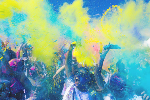 People at fundraising event with color powder by Captain Colors