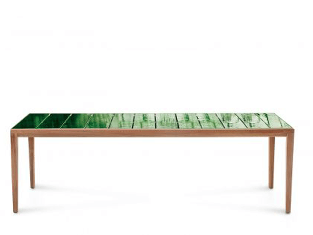 Roda Teak Table glazed gres top in Jade