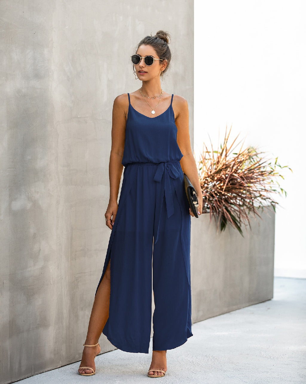 Best seller!!! Navy Spaghetti Strap Wide Leg Jumpsuit
