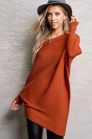 Brick Off Shoulder Knit Tunic