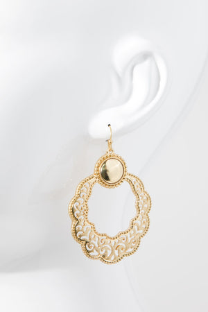 Gold Open Circle Filigree Earrings