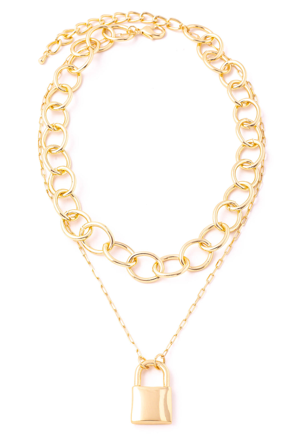 Gold Hoop Chain & Lock Charm Necklace
