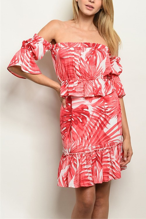 Red Palm Leaf Top And Skirt Set 3/2