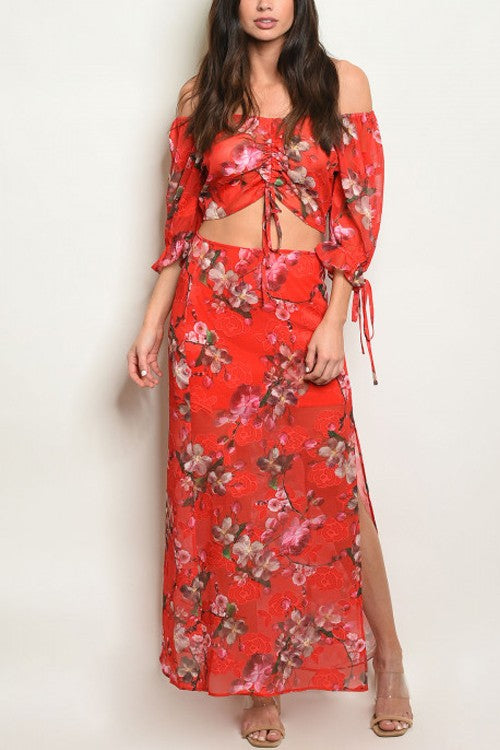 Red Floral Top And Skirt Set 3/2
