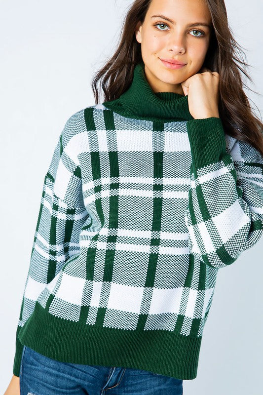 GREEN PLAID TURTLENECK PULLOVER SWEATER