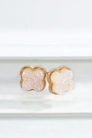Best Seller!!! Opal Dainty Clover Druzy Post Earrings