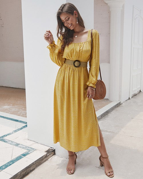Yellow Square Neck Long Sleeve Maxi Dress