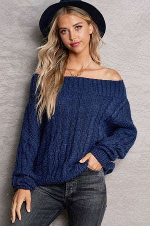 Indigo Off The Shoulder Knit Sweater