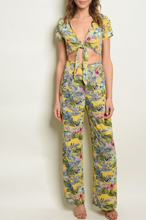 Yellow Floral Top & Pants Listed Separately
